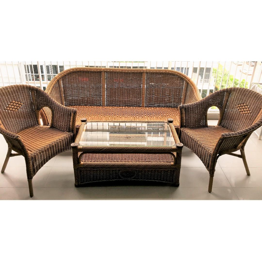 Living Room Cane And Rattan Furniture