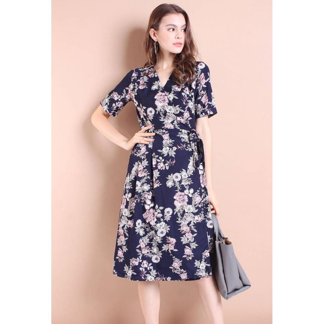 96fcca37d7a Neonmello Brooklyn Garden Floral Tie-Wrap Midi Dress
