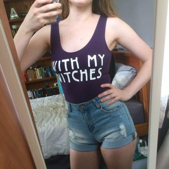 Purple witches bodysuit size XS/S