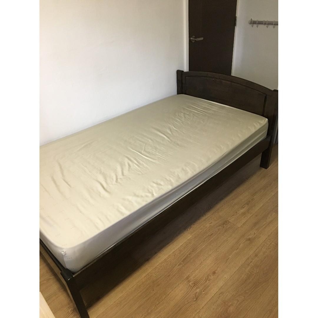 Solid Wood Bed Frame Spring Mattress Bundle Discount Furniture
