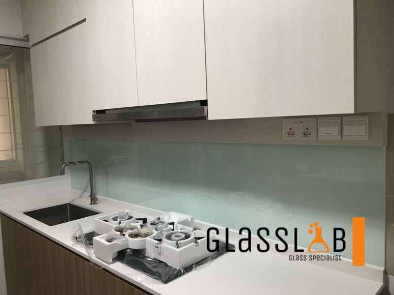 Spray Painted Tempered Glass Kitchen Backsplash Furniture Home