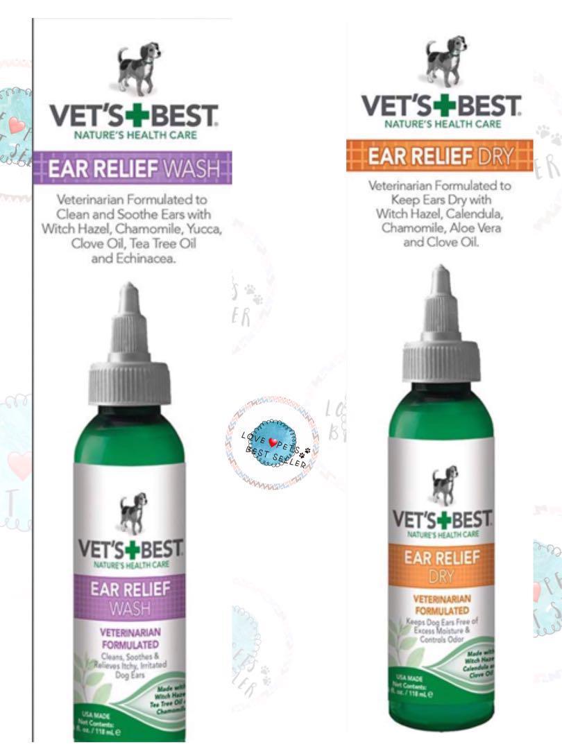 💯🇺🇸美過Vet's Best 狗用天然乾耳水💦 (4oz.) 及狗用天然洗耳水 (4oz.)套裝 💯🇺🇸Vet's Best Dog Ear Cleaner Kit, Ear Relief Wash & Dry (4oz./each)