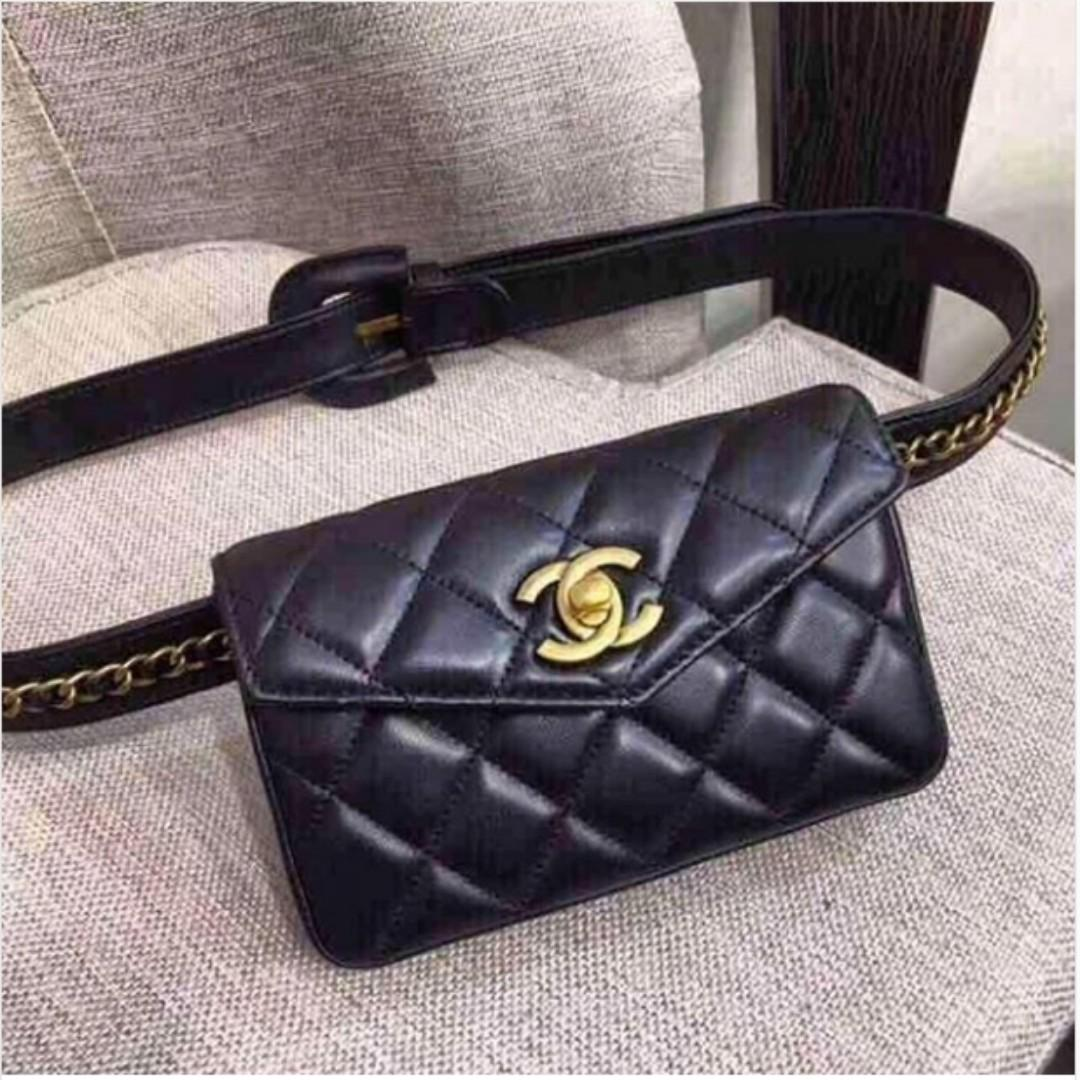 fa80dc2652d Vintage CHANEL Quilted Lambskin Leather Black Flap Mini Waist Belt Bag  Authentic on Carousell