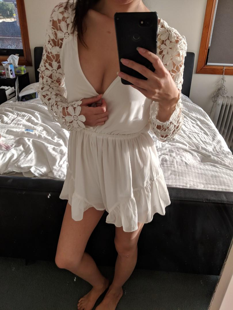 White Playsuit with Lace