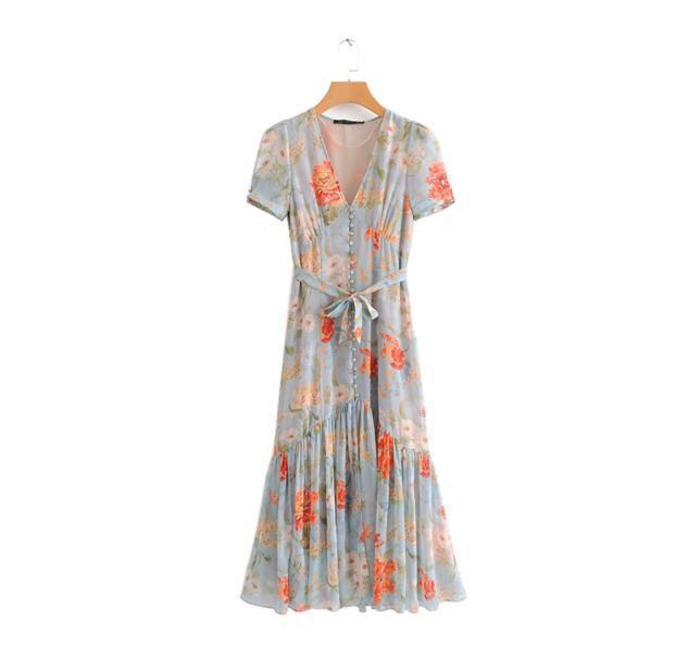2614d1b5 Zara Inspired Floral Chiffon Maxi in Blue, Women's Fashion, Clothes, Dresses  & Skirts on Carousell