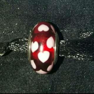 Original Pandora Red and white heart murano charm