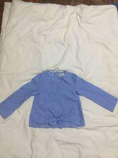 Zara Girls Light Blue Long Sleeve Blouse