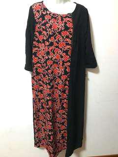 <Free Postage> Black & Floral Long  Slit Dress/Tunic