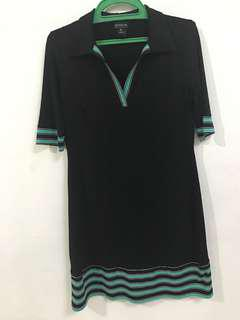 Black dress with green lines