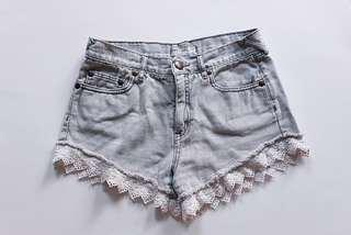 *PRICE DROP* Free People | Light Grey Denim Shorts With Lace Trim |Size 26
