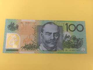 Australia $100 gem unc 澳洲$100塑膠鈔票,頂級直版