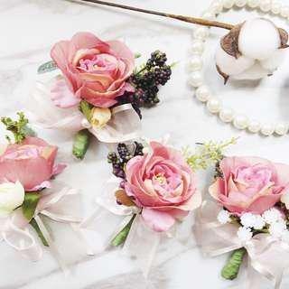 結婚婚禮襟花及手帶