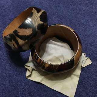 Wooden Bangles x 2