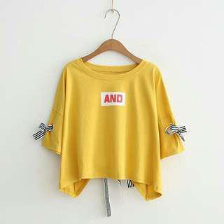 🚚 全新櫻草黃芥末黃芥黃色造型蝴蝶結袖後綁帶緞帶T恤XL號肉肉棉花糖女孩大尺碼可