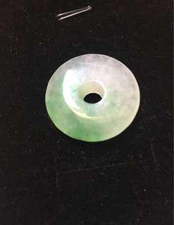 天然冰種飄綠花翡翠平安扣