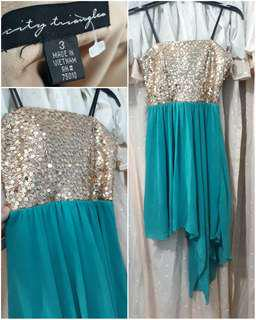 US Brand Sequin Bodice Prom / Ball / Evening / Formal / Cocktail High Low Chiffon Dress