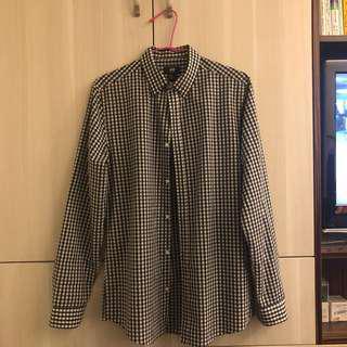 🚚 H&M 黑白格紋長袖襯衫