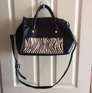 Cute zebra print black shoulder bag handbag