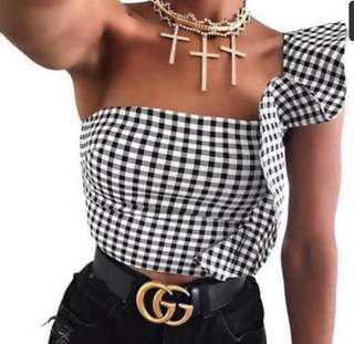 Gingham assymetrical top