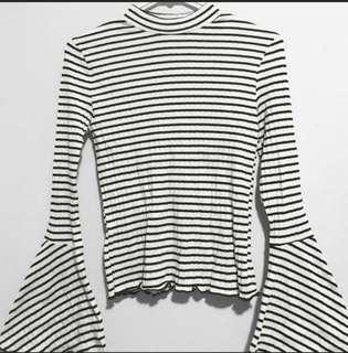 MANGO bell sleeved striped top
