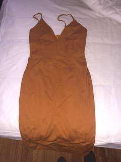 Burnt orange midi dress