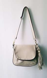 Cream & Rose Gold Accent Leather Crossbag
