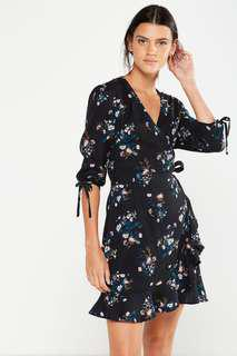 Woven floral wrap dress