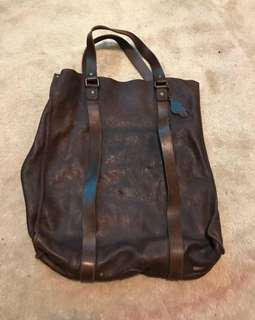 Roots leather tote
