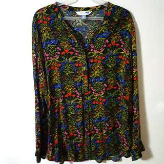 Old Navy Plus Size Black Floral Tunic Shirt