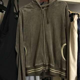 Suede hoodie jacket