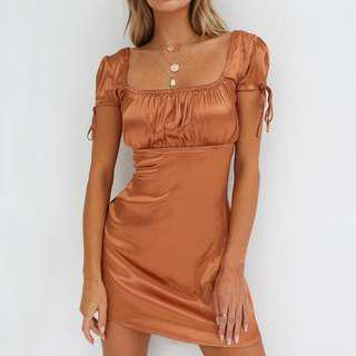 "Tigermist ""Tyra"" Tan Satin Dress PREORDER"