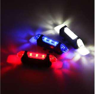 USB Rechargeable Bicycle Tail Light - Red, Blue And White