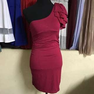 One sided fuchsia pink dress