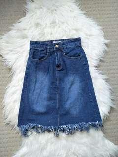 NEW Frilly Denim Skirt