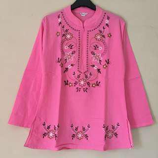 Baju Muslim Pink Bordir Mata