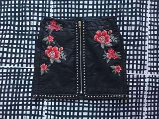 American Eagle Leather Embroidered Skirt