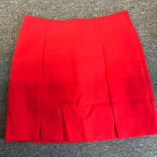 Red high waist skirt front slit