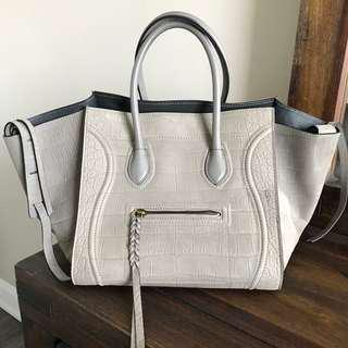 Celine Phantom Luggage Grey Croc Embossed Calfskin Leather Tote