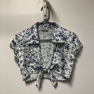 Silk Floral Tie Cropped shirt