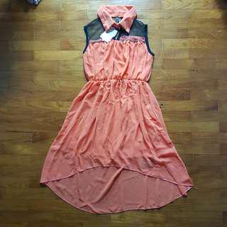 coral lace mesh midi dress