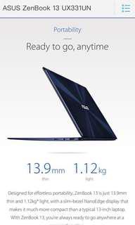 電腦 notebook asus 超薄超輕 保養2年 UX331UN 文書打機都得 買左兩個月 用過3次 同新冇分別  配件盒單全齊