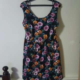 Forever 21+ Plus Size Black Floral Jersey Dress