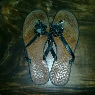 Black/brown leather sandals