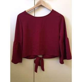 Wine Red Burgundy Bell Sleeve Dressy Top Blouse Open Tie Back