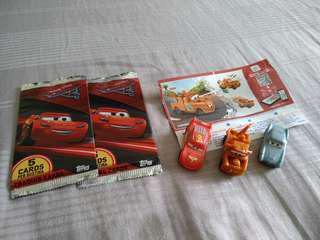 Cars figurine and cards free postage