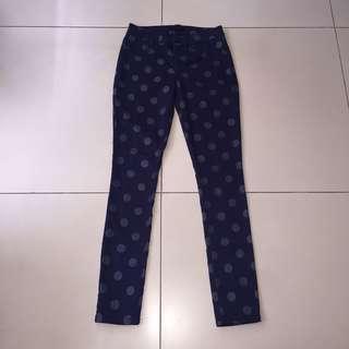 Original Forever 21 Navy Blue Polka Dot Pants Size US 24