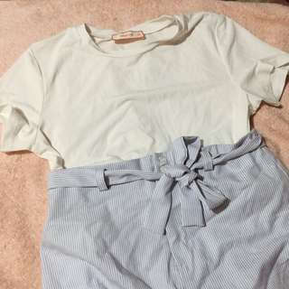 Pastel Blue Striped Short and Plain Top Outfit Bundle