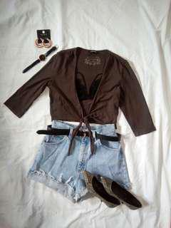 Chocolate Brown Wrap Top
