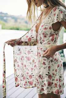 Arnhem Juniper Floral Wrap Dress in Vintage Cream - Size 12-14