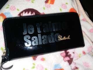 salad 黑色漆皮長銀包